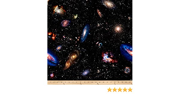 Out Of This World-Galaxy-Stars-Planets-Hoffman-BTY-Digital Print