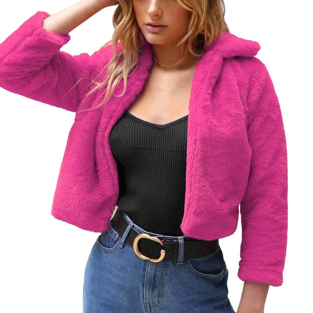 Limsea 2018 Women Pink Lapel Collar Faux Fur Coat Warm Winter Overcoat Outwear LimseaWM