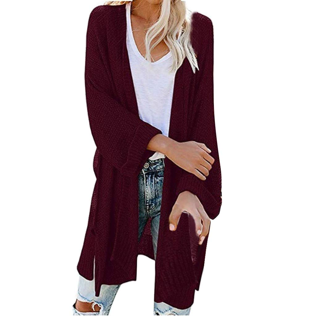 SturrlyWomen's Casual Open Front Long Sleeve Knit Cardigan Sweater Coat with Pockets Wine by Sturrly