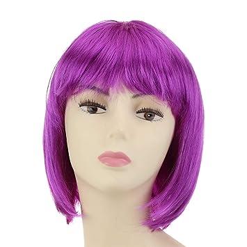 Cisne 2013, S.L. Peluca para Mujer Longbob Disco Party Corta para Fiesta Disfraz. Peluca Bob Corto de Mujer para Carnaval Mujer Varios diseños a Elegir.