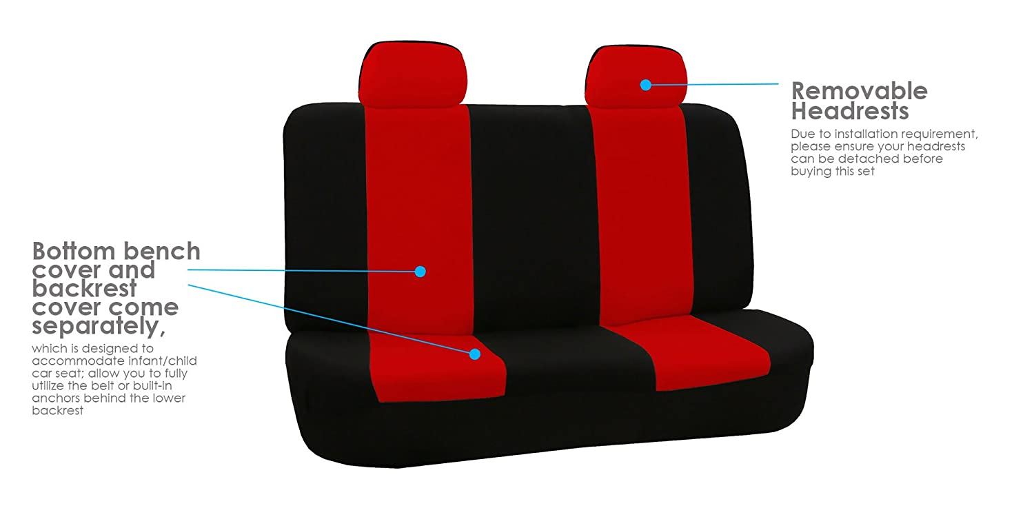 FH-FB050102, Fit Most Car, Truck, SUV, or Van FH Group Universal Fit Flat Cloth Pair Bucket Seat Cover, Green//Black