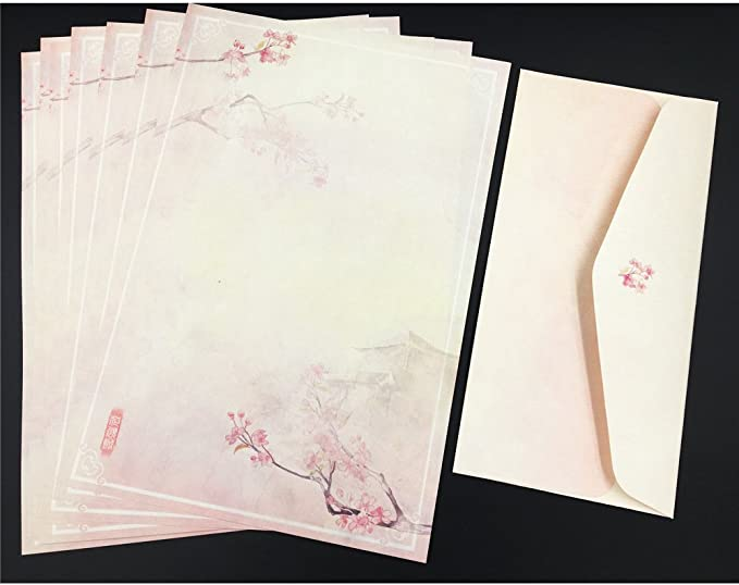 QingLanJian 24 Cute Writing Paper Letter Stationary Set with 12 Envelopes