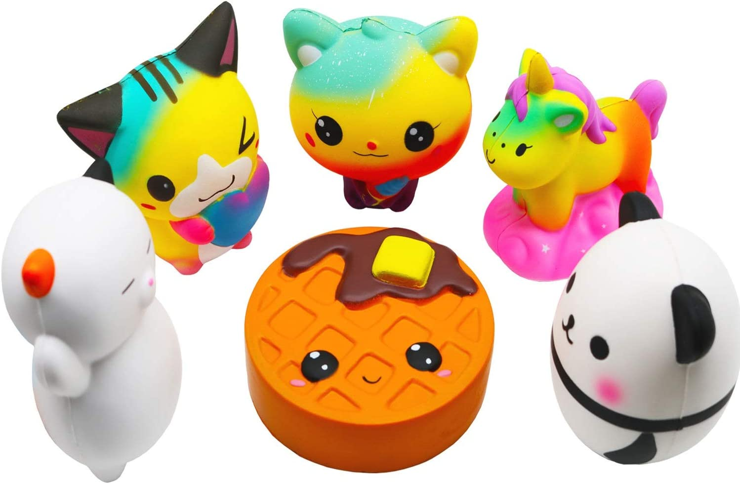 Korilave 6Pcs Jumbo Squishies Toy Set Cute Slow Rising Unicorn Cake Waffles Panda Cat Animal Squishy Toys for Kids Party Favors,Christmas Stocking Stuffers,Birthday Gift,Adults Office Stress Relief