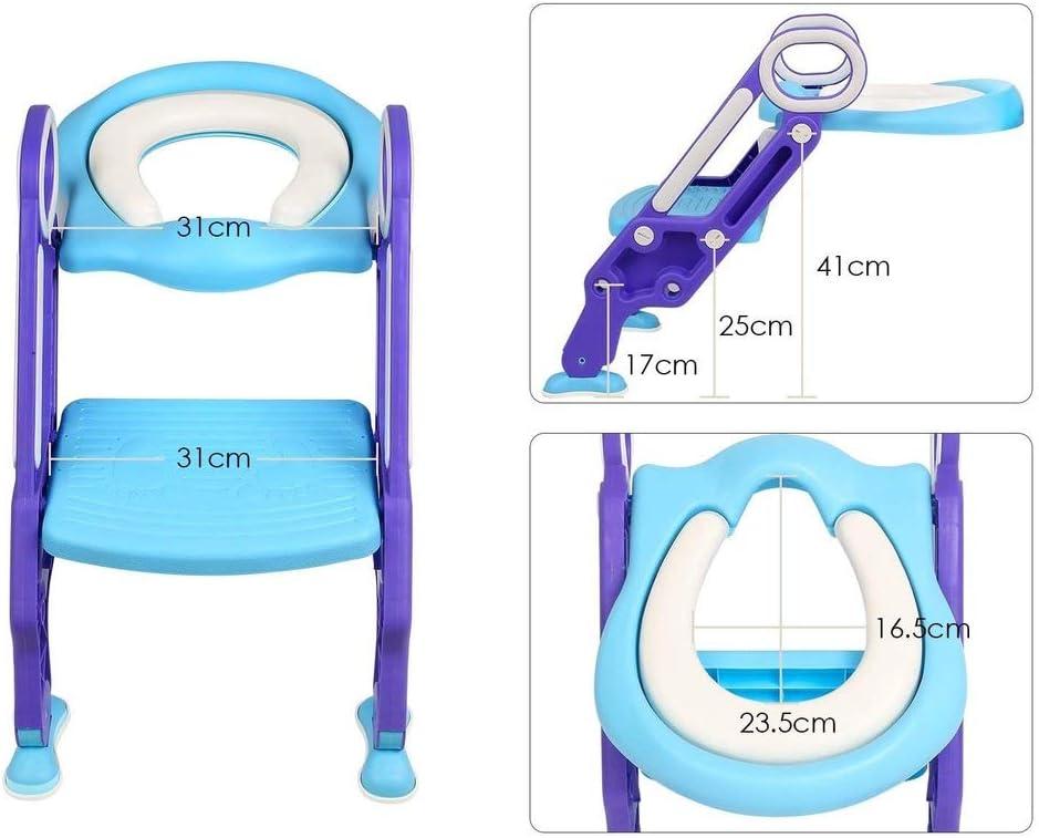 1 Aseo Escalera Asiento Escalera del tocador de ni/ños Asiento para WC con escal/ón plegable Orinal Formaci/ón Color azul