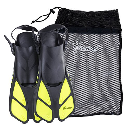 Seavenger Torpedo Swim Fins | Travel Size | Snorkeling Flippers with Mesh Bag for Women, Men and Kids (Yellow, L/XL)