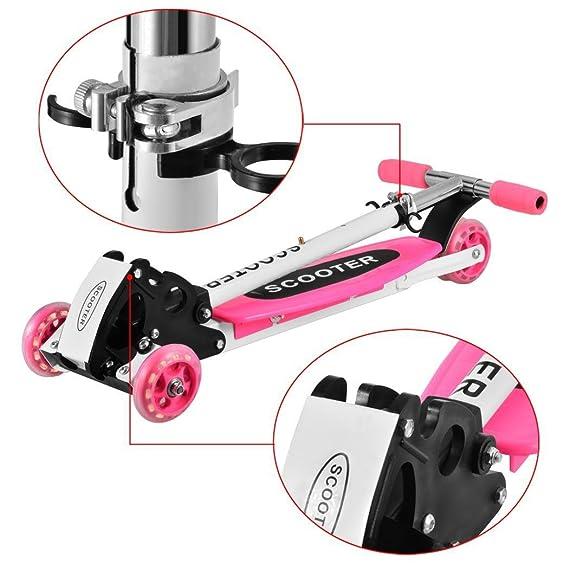cooshional Patinete Scooter 4 Ruedas Plegable Altura Adjustable para Niños Rosa