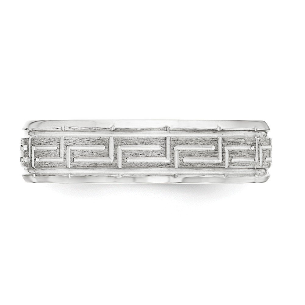 JewelrySuperMart Collection Sterling Silver 6mm Greek Key Design Wedding Band with Beveled Edge with Brushed Finish