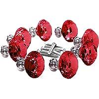 16 Pcs Red Crystal Knobs Diamond 30mm Diameter Door Cabinet Handle Red 30mm 16Pack