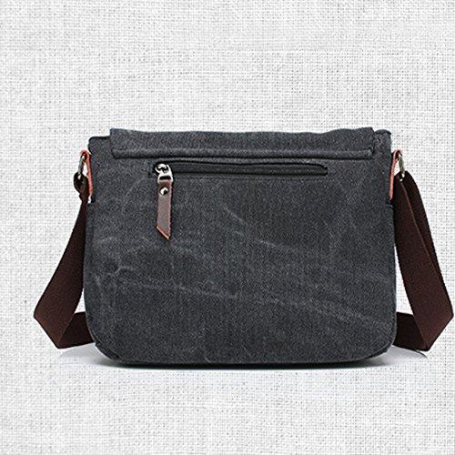 Cool&D Herren Canvas Tasche Umhängetasche Leinwand Tragetasche für Freizeit Schul 30*9*23cm Grau