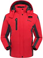 Ubon Women's Winter Outdoor Waterproof Raincoat Windproof Fleece Ski Jacket