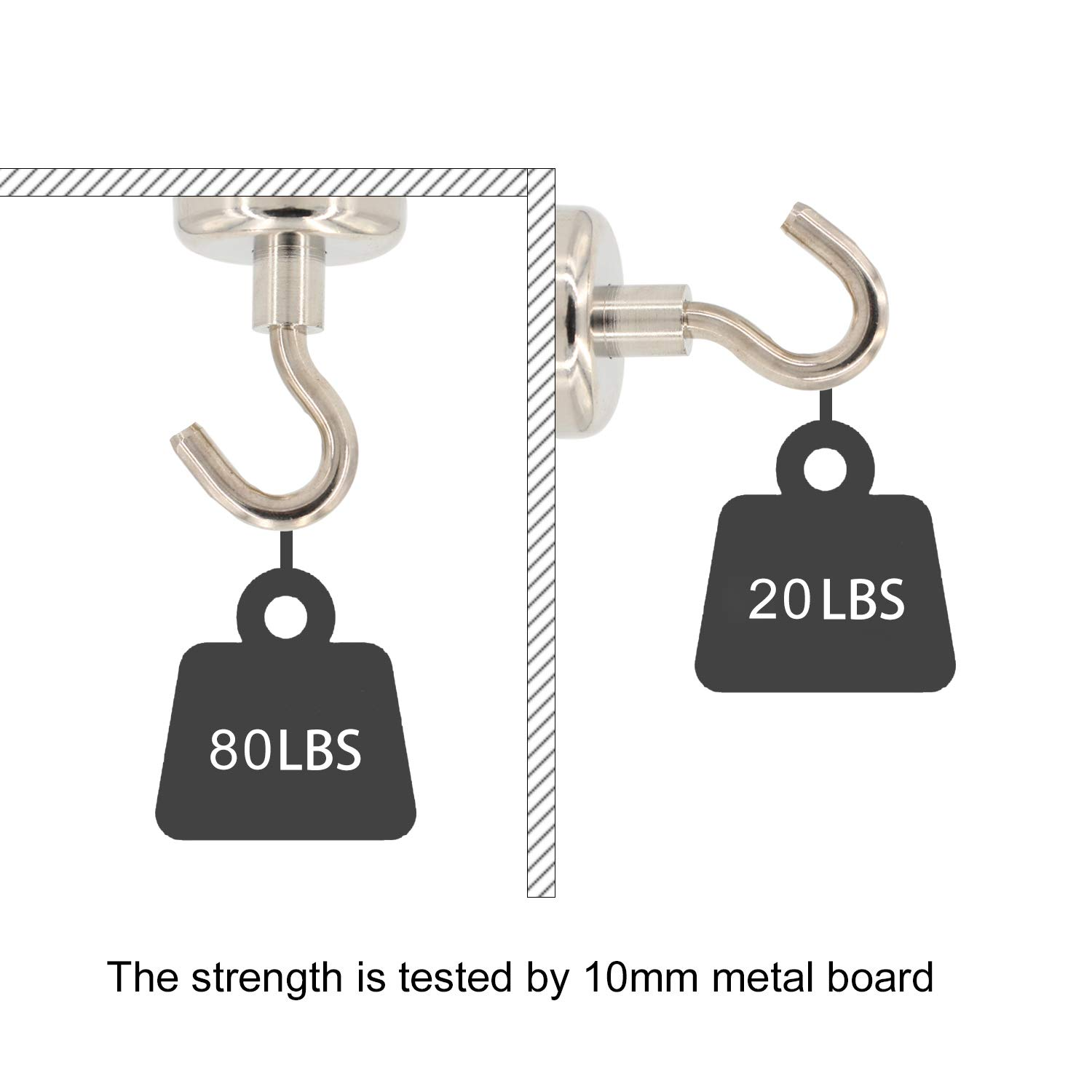 Refrigerators Home Keys 18LBS Super Magnets with Neodymium Rare Earth for Hanging Office Pack of 10 Door Holder MHDMAG Magnetic Hooks Refrigerator,Cruise Ship Accessories BBQ