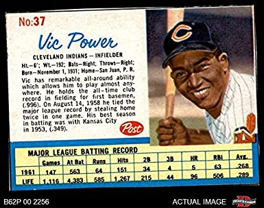 Amazon com: 1962 Post Cereal # 37 Vic Power Cleveland