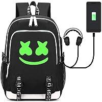 Mcgrady1xm DJ Marshmello Luminous Mochila, Unisex Schoolbag Mochila para portátil Bolsa Fresca para Adolescentes con USB Puerto, Bolsa de Viaje, Bolsa de Trabajo, Bolsa de Escuela (Color 3)