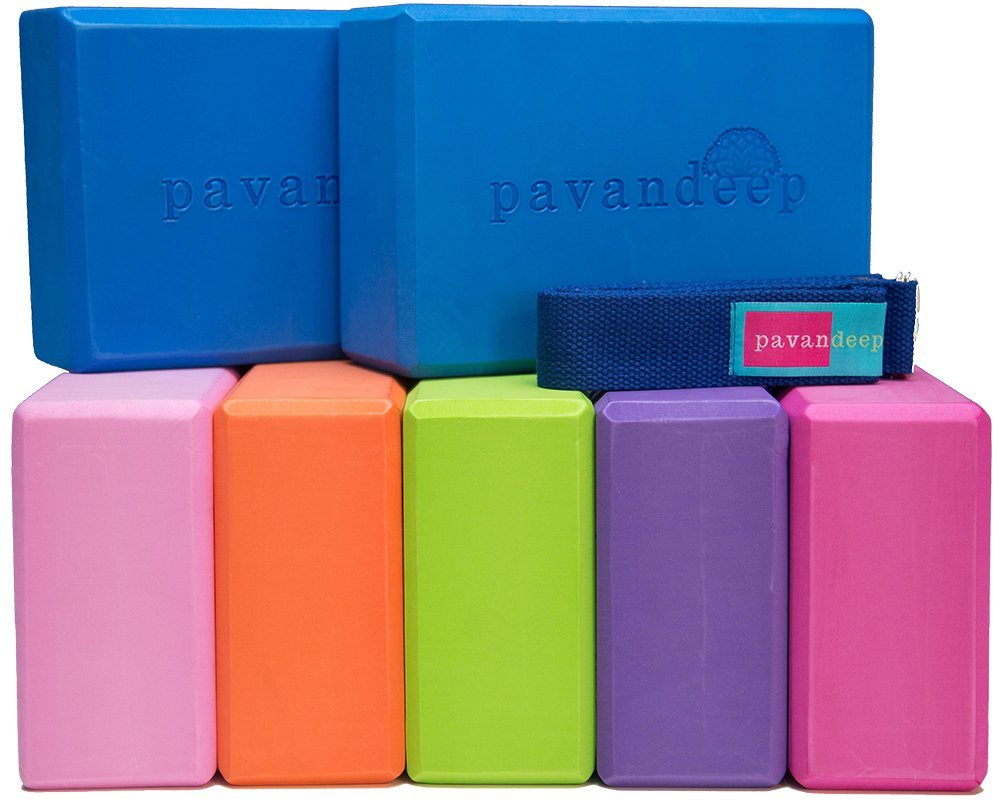 Balance Stretching Stability /& Support Pavandeep Products 1 Block or 3pc Yoga Block and Strap Set Pavandeep Yoga Blocks High Density EVA Foam Blocks Yoga Strap