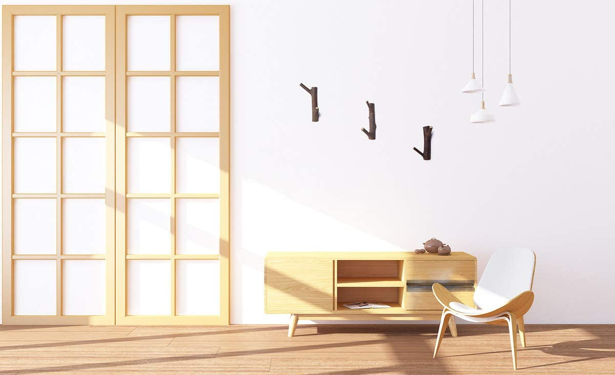 Kleiderhaken aus Holz Doppel Haken Garderobenhaken Vintage Kleiderhaken wand Geeignet f/ür wohnzimmer Ohne Bohren 3 St/ück Doppel haken