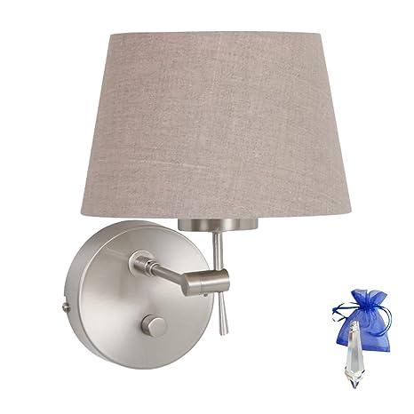 Lámpara de pared con pantalla Lino Acero cepillado plata ...