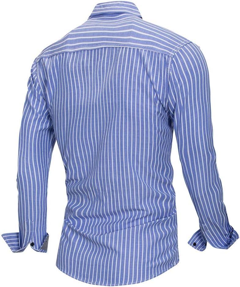 Color : Blue, Size : XXL BWAM-tak Mens Slim Fit Shirt Mens Stripe Dress Shirt-Cotton Long Sleeve Shirt-Regular Fit Button Down Lapel Collar Tops with Pocket Button Down Dress Shirt