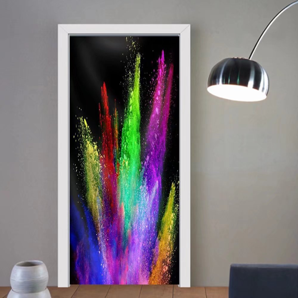 Gzhihine custom made 3d door stickers Explosion of Colored Powder Isolated on Black Background. Power and Art Concept Fabric Home Decor For Room Decor 30x79