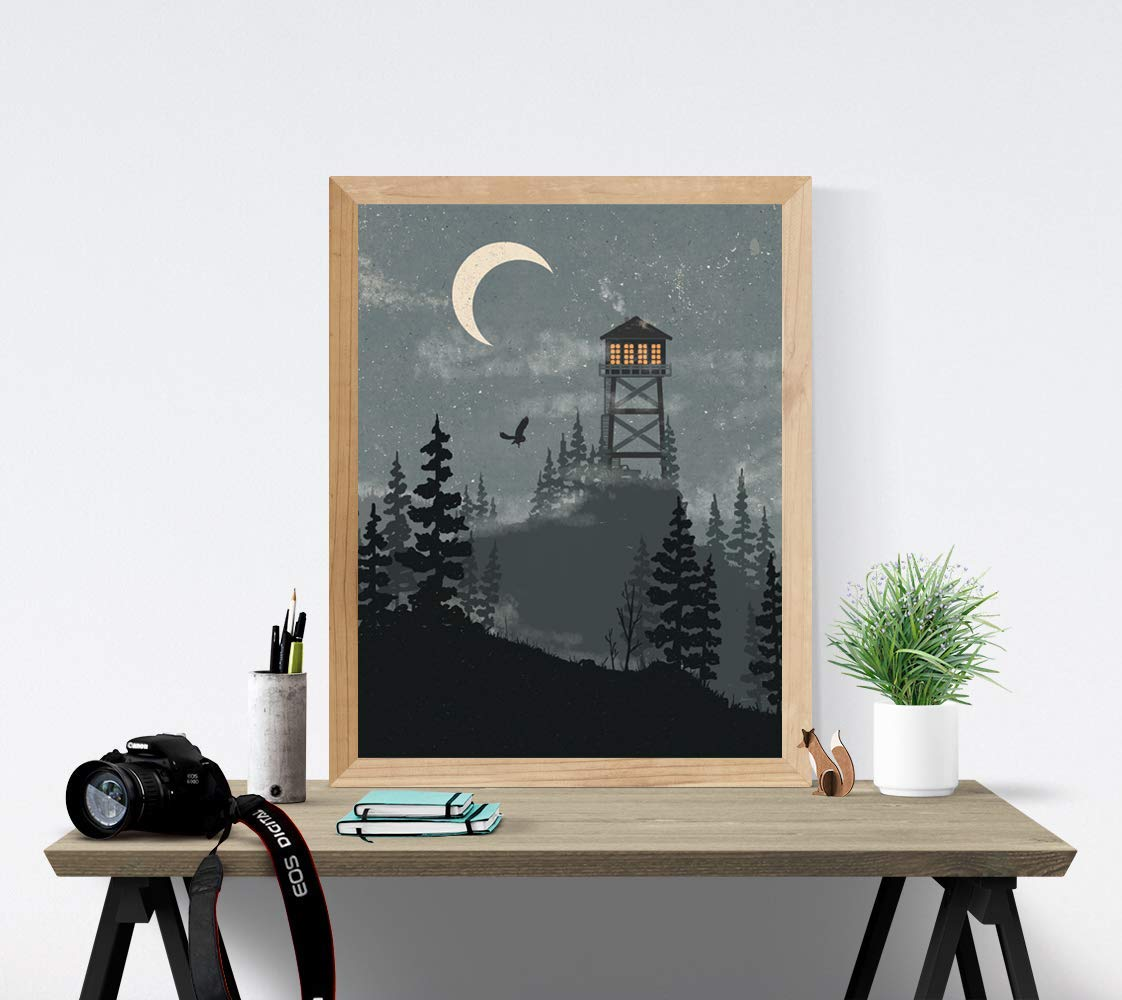 Forest Wilderness Art Print - 18 x 24 Nature Woods Trees Landscape Unframed Artwork Night Sky Lookout Tower Crescent Moon Outdoor Inspiration Poster Calming Peaceful National Park Decor