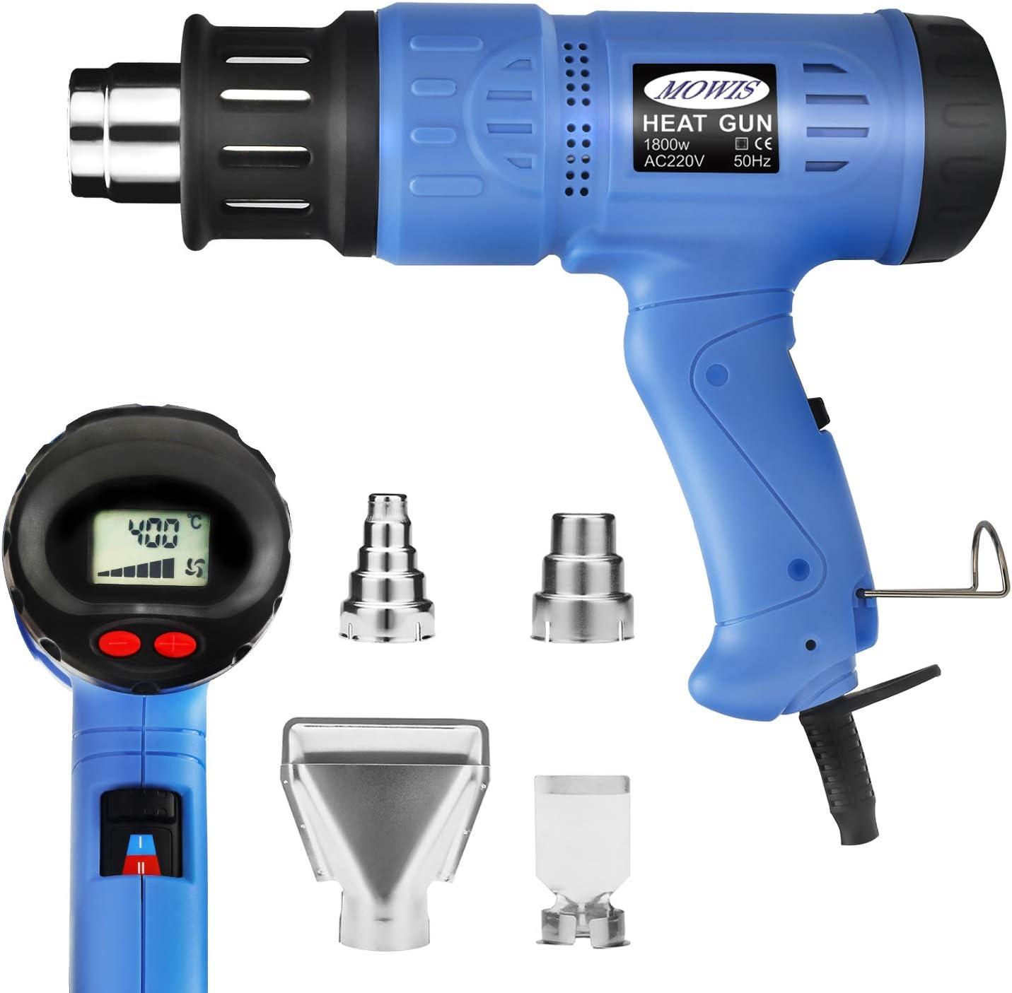 Pistola de Aire Caliente MOWIS calor Decapador Profesional con Pantalla LCD Temperatura Ajustable (100-600℃, 190-500L/min) 4 accesorios para Pelar Pintura, Deformar Tubos, Encoger PVC