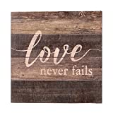 NIKKY HOME Wooden Wall Art Poster Prints Quote love never fails,11.93 x 11.93 In