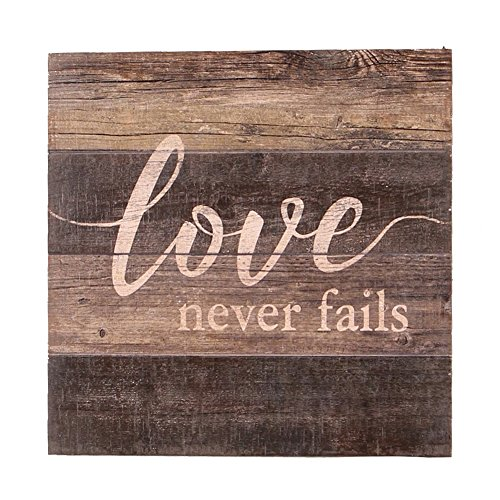 NIKKY HOME Wooden Wall Art Poster Prints Quote love never fails,11.93 x 11.93 In Inspirational Sign Framed
