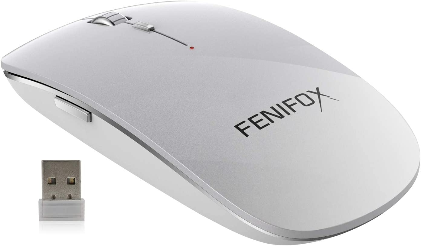 FENIFOX Wireless Mouse,Slim Mouse with 2.4G USB Receiver Portable Ergonomic Quiet Mice for Laptop,Tablet,PC,chromebook Mac MacBook pro Android -Silver White