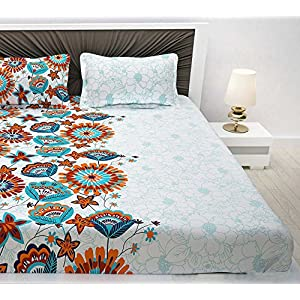 Divine Casa Evan 144 TC Cotton Double Bedsheet with 2 Pillow Covers – Floral, Blue and Orange