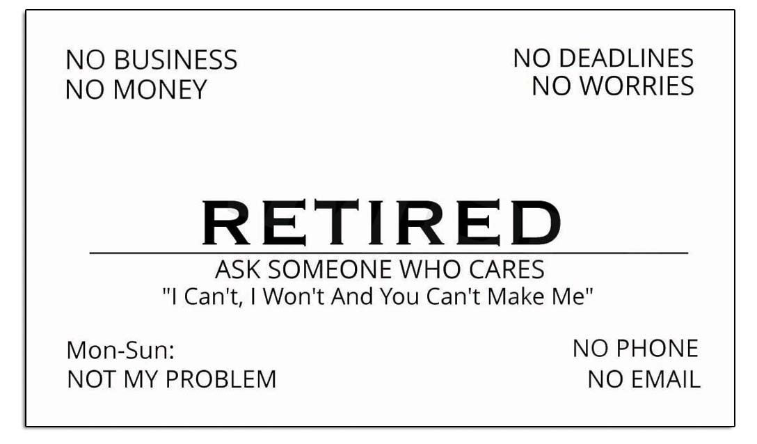 Amazon American Art Classics Funny Retirement Business Cards