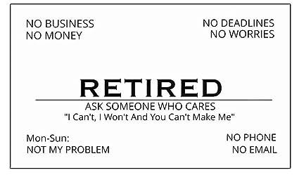 Amazon American Art Classics Funny Retirement Business Cards