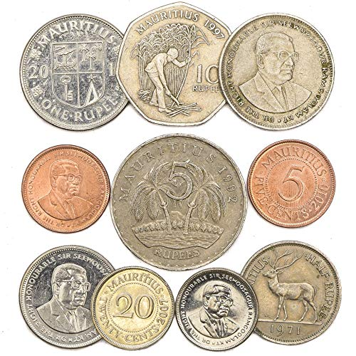 10 Old Coins from Mauritius, East African Mauritian Collectible Coins Rupee. Perfect Choice for Your Coin Bank, Coin Holders and Coin Album
