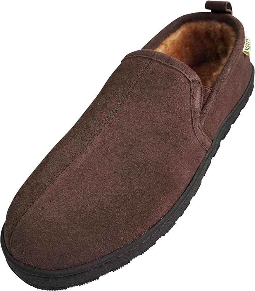 NORTY Mens Genuine Leather Cowhide Suede Slippers - Twin Gore Slip On Loafer - Lux Plush Fur Lining