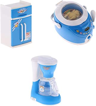 SDENSHI 3X Juguete de Electrodomésticos de Simulación Refrigerador Aarrocera Cafetera con Luz Sonido Juego Educativo Temprano para Niños Pequeños: Amazon.es: Juguetes y juegos
