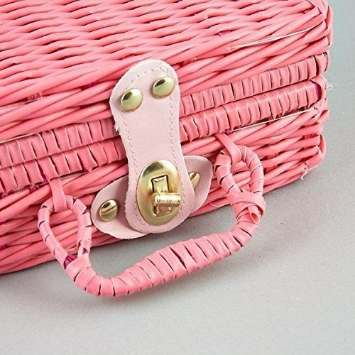 Floss and Rock Think Pink Spotty 17-Piece MINI Ceramic Tea Set in Basket by Floss & Rock (Image #2)