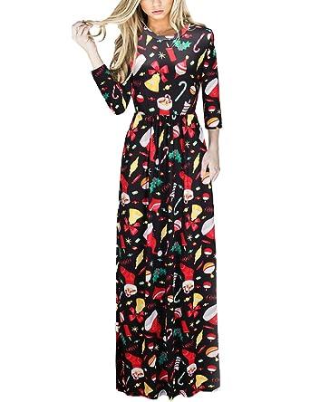 f95768f7d6935 amatorial Robe de Noel pour Femme Noel Impression de fête de Noël Noël  Moche Longue Robe