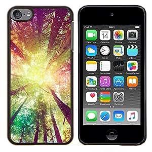 TECHCASE---Cubierta de la caja de protección para la piel dura ** Apple iPod Touch 6 6th Touch6 ** --árboles forestales sol amarillo verano ray