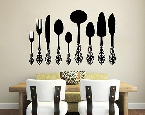 Adhesivos de Pared Cuchillo Tenedor Cuchara Vintage de cubertería Cafe decoración de la Cocina Comedor Pared