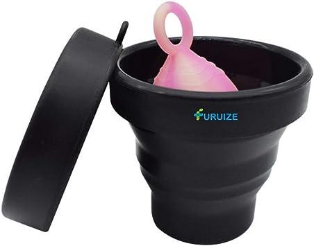 Taza de Esterilización Plegable Furuize. Esterilizador de Copas Menstruales. Silicona de Grado Médico 100%. Color Negro