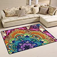 LORVIES Trippy Mandala Area Rug Carpet Non-Slip Floor Mat Doormats for Living Room Bedroom 72 x 48 inches