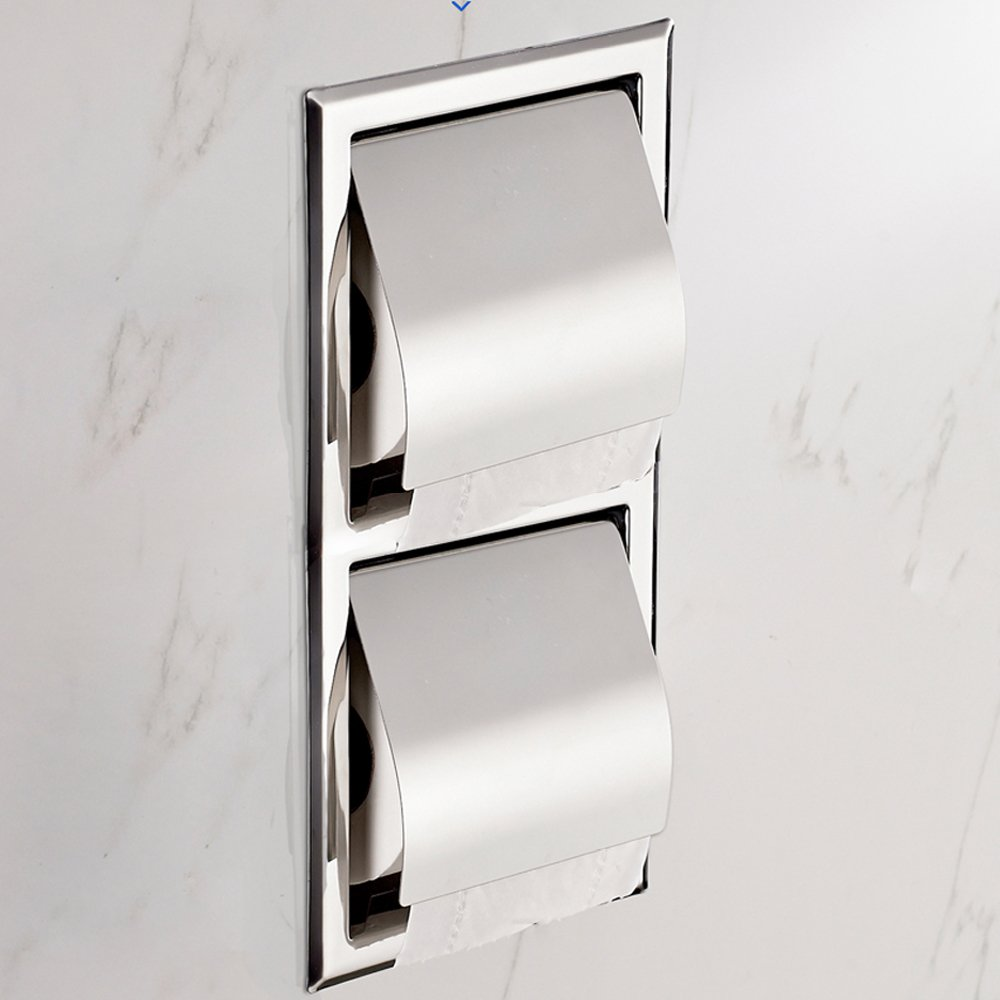 Recessed Paper Holder for Bathroom Storage, Stainless Steel, Polished Chrome (two B)