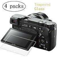 PCTC Screen Protector Compatible for Sony A6400 A6000 A6300 A5000 Nex-7 NEX-6 NEX-5 NEX-6L NEX-3N Tempered Glass Cover Anti-scrach Anti-Fingerprint High Transparency Foils (4 Pack)