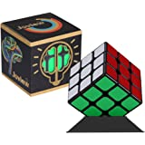 YONGJUN GuanLong 3x3x3 Magic Cube 3D Puzzle Professional Speed Cube with Display Stand Turns Very Quickly Smoothly Twist Brain Teasers (2.2*2.2*2.2in, Black)