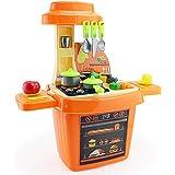 Smija おままごとおもちゃ 野菜 食器 調理器具付き リアル料理音とライト搭載 組立式 収納可能 ごっこ遊び おままごとセット キッチン オレンジ