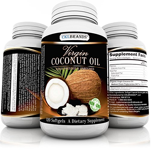 Virgin Cold Pressed & Unrefined Pure Organic Non GMO Coconut Oil Supplement – For Weight Loss, Hair Growth, Energy and Healthy Skin – 3000 mg Per Serving of Essential Fatty Acids