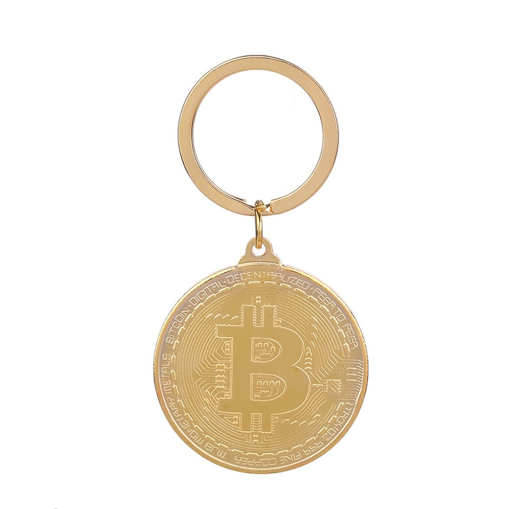 VORCOOL Bitcoin Keychain Metal Shiny Key Ring with Physical Bitcoin Art Souvenir (Golden)