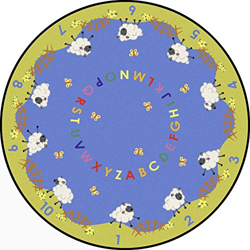 """UPC 015961509158, Joy Carpets Kid Essentials Infants & Toddlers Round Lamby Pie Rug, Multicolored, 7'7"""""""