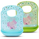 2 Pack Waterproof Baby Bibs - Kirecoo Cute Elephant Baby Bibs with Crumb & Drip Catcher, Catches Everything, Comfortable, Keep Stains Offfor Babies & Toddlers (10-72 Months)