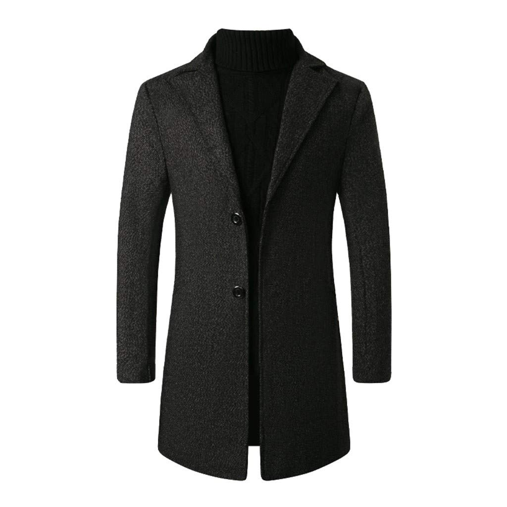 Funnygals - Mens French Woolen Coat Business Down Jacket Long Sleeve Lapel Neck Slim Fit Trench Coat Topcoat with Pocket Black by Funnygals - Clothing