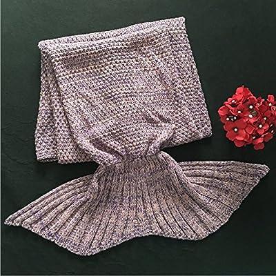 La petite sirène de plumes de queue de poisson de la climatisation canapé couverture couverture couverture pan knitting knitting de cadeaux d'anniversaire cadeaux créatifs, les enfants 140*70, violet