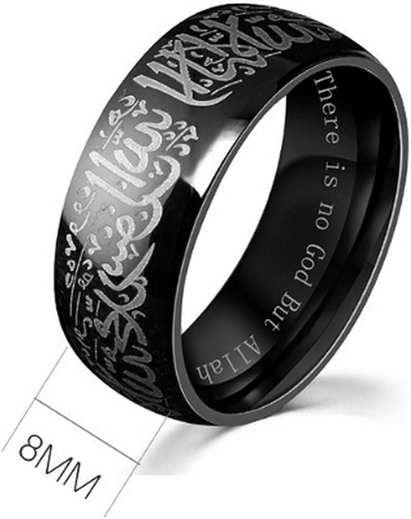Yazilind Acier Titanium Anneaux Noir Islamique Groupe de Mots musulmans Bague Multi Taille facultatif Taille 61.5